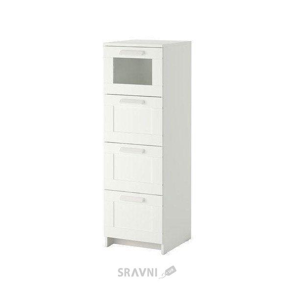 Фото IKEA BRIMNES Комод с 4 ящиками, белый, матовое стекло (102.180.27)