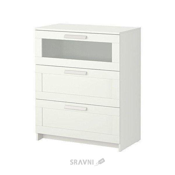 Фото IKEA BRIMNES Комод с 3 ящиками, белый, матовое стекло (802.180.24)
