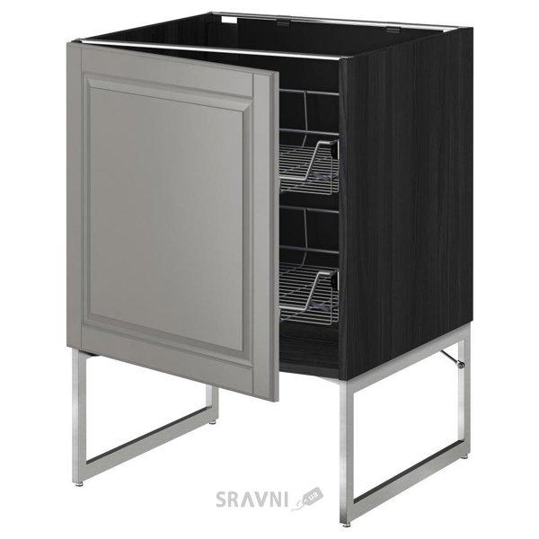 Фото IKEA METOD Напольный шкаф с проволочными ящиками (090.074.03)