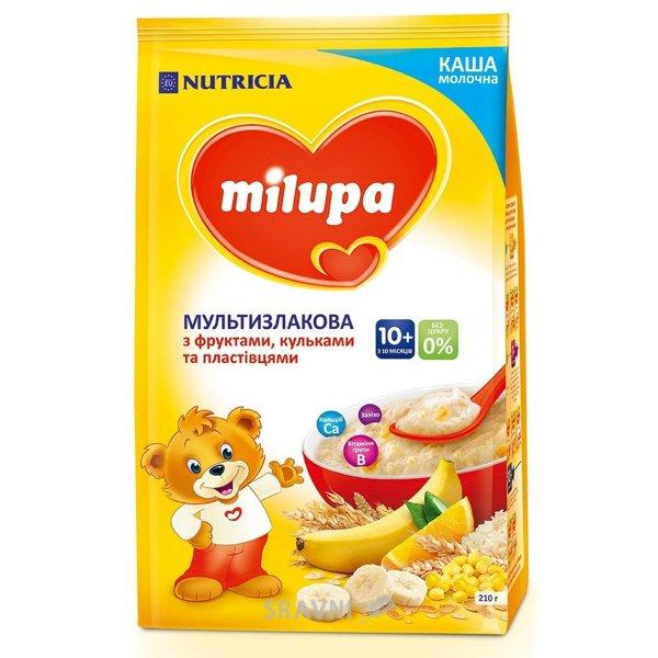 Фото Milupa Каша молочная мультизлаковая с фруктами, хлопьями и шариками, 210 г