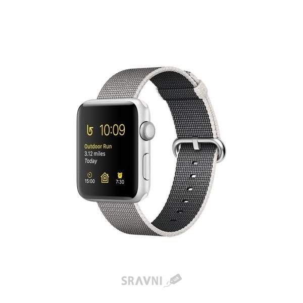 Фото Apple Watch Series 2 42mm Silver Aluminum Case with Pearl Woven Nylon Band (MNPK2)