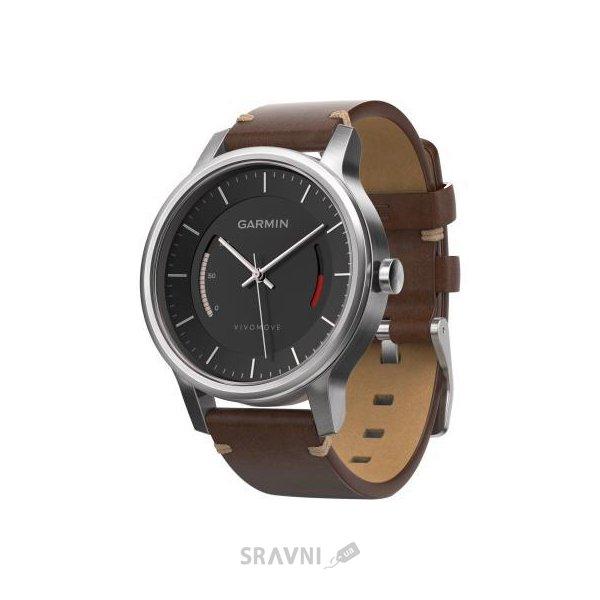 Фото Garmin Vivomove Premium Stainless Steel with Leather Band